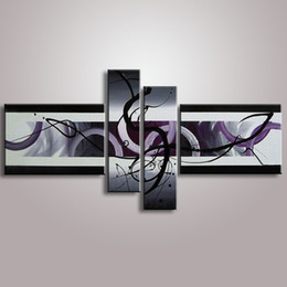 2019 abstrakte hände kunst gemälde Handgemachte Gemälde 4 Stück Bilder Handgemalte Abstrakte Graffiti Linien Ölgemälde auf Leinwand Große Home Wall Art Decor günstig abstrakte hände kunst gemälde