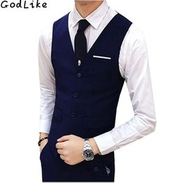 Wholesale Men S Gold Waistcoats - New 2017 High Quality Black Blue Groomsmens Vest Wedding Prom Party Waistcoat Mens Vests Casual Wear Formal Business Male Vest