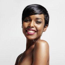 Melhores perucas de renda curta on-line-Barato Pixie Corte curto glueless frente de renda perucas de cabelo humano para os afro-americanos melhores perucas de cabelo brasileiro