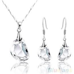 Moda donna di cristallo a forma di pisello bianco collana orecchini gioielli Set 1SQM da