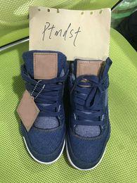 Wholesale neoprene sales - Hot Sale Top Quality 4 Denim LS Jeans Basketball Shoes Men 4s Blue Black White Jeans Sneakers