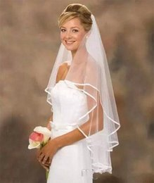 Wholesale multi layer veils - Romantic Bridal Veils 2 Layer Bat Type Wedding Veil With Comb White Ivory Satin Head Yarn For Bride Party Decor 5 5hp YY