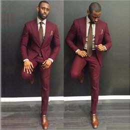 Custom Burdeos Hombres Traje Slim Fit Bestmen Novios Esmoquin Novio Trajes Trajes Formales Hombres de negocios (Chaqueta + Pantalón) desde fabricantes