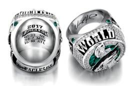 Wholesale tin set - Philadelphia 2017 2018 Eagle s World 52th Championship Football Ring size 8-14 Fan Gift high quality wholesale Drop Shipping Foles