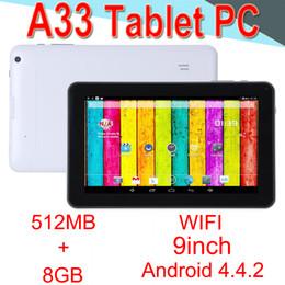 A33 9 pollici Tablet PC Capacità Quad Core Android Doppia fotocamera 8 GB RAM 512 MB ROM WIFI Bluetooth 3G EPAD Facebook Google EA33-PB 50 Packs da