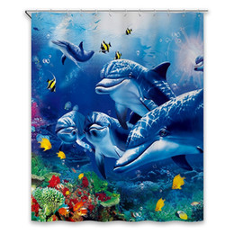 dolphin curtains Promo Codes - Shower Curtains Art Fantastic Sea Animal Fish Dolphin Coral Blue Printing Decorative Polyester Fabric Bathroom Curtains