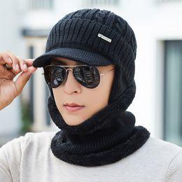 4c7f4401554 Winter Hat Scarf Skullies Beanies For Men Knitted Hat Women Mask Thick  Balaclava Ear Cap Wool Bonnet Male Beanie Hats Cap