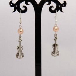 Sıcak Satış Antik Gümüş ViolinMulticolor Cam Boncuk Charm Kolye Dangle Küpe Moda Yaratıcılık Kadınlar Takı Aksesuarları Tatil Hediyeler supplier violins sale nereden keman satışı tedarikçiler