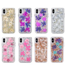 iphone hard case Promo Codes - Real Flower Bling foil Transparent Case For iPhone X 6 7 8 Plus Hard Plastic+Soft TPU phone cases for Samsung Note8 S9 Plus