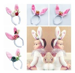 Wholesale Pink Hair Photos - Cartoon Baby Girls hair accessories Bunny crowns artificial flowers Children headbands Rabbit hairbands birthday supplies photo props C2743