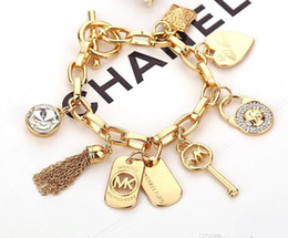 Wholesale Crystal Love Bracelet - Hot sale!!! famous Brand MK bracelets with love heart gem 925 sterling silver or gold plated pendants Charm Bracelets Bangle jewelry