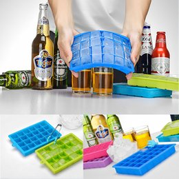 Wholesale easy mold - 24 Grid DIY Big Ice Cube Mold Square Shape Silicone Ice Tray Easy Release Maker Creative Home Bar Kitchen tools FFA398