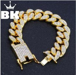 Canada Hip Hop Hommes Diamants Simulés Bracelet Cubain liens chaînes or Alliage De Couleur Bracelet pour Bracelet Bijoux Accessoire Offre