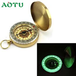 llavero brújula de bolsillo Rebajas Aotu Pocket Brass Watch Style Acampar al aire libre Senderismo Navegación Compass Ring Keychain Dec12