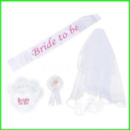 Costumes de rosette en Ligne-Ensemble de mode Blanc Rosette Mantilla Mariée À être Bretelles Jambe Cercle Badge Insigne Costume Dentelle Single Party Offre De Mariage 11 5ap aa
