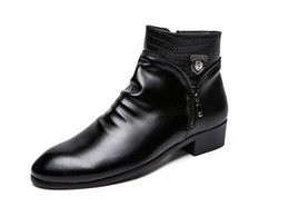 Forro de cuero zapatos de vestir de los hombres online-Zapatos de vestir de hombre de cuero clásico Hombres cabeza de león Primavera / otoño Forro de piel Botas Hombres Botas Zapatos de cuero de negocios formal británico 1h45