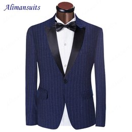 2019 махровые шерстяные костюмы Blue Pinstripe Suit Tuxedos Peaked Lapel Groomsman Suit Wedding One Button Worsted Wool Suits 2017 Man Suit(Jacket+pants) дешево махровые шерстяные костюмы