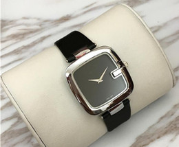Wholesale Dark Green Casual Dresses - Popular Casual Square Dial Women watch Black Brown Red Leather Wristwatch Lady watches famous brand Dress watch free shipping