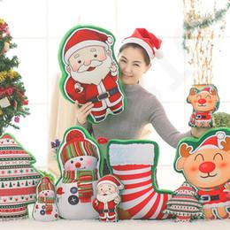 i calzini dei giocattoli Sconti 5 Design Cuscino natalizio Babbo Natale stampato cuscino Deer calze Cuscino Home Car Decor Decorazione peluche 50 pz T1I1019
