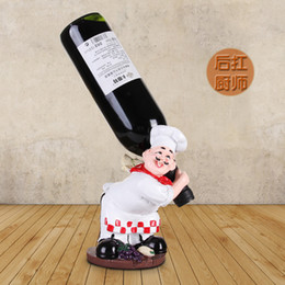 chef block Coupons - Chef Figurine Wine Holders Resin Chef Wine Rack Stand Cook Wine Bottle Holder Home Ornaments for Party