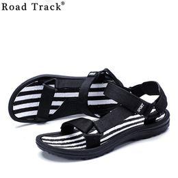 Wholesale Road Track - Road Track Summer Sandals Men British Style Gladiator Slip On Beach Sandals Buckle Black Flat Heel Leisure Mens Shoes XMH0293