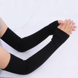 Luvas sem dedos luvas longas tricô on-line-Atacado Outono Inverno 50 cm de Lã das Mulheres Aquecedores de Braço De Lã Malha Braço Sólida Superfine Longo Malha Luvas Sem Dedos