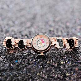 Relógios a quartzo on-line-Novo design dos desenhos animados cat mulheres pulseira de relógio de luxo relógio de pulso feminino strass relógios de pulso vestido de quartzo relógio de pulso