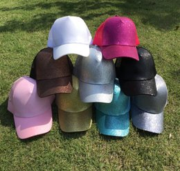 Wholesale white beach balls wholesale - 9 Colors CC Glitter Ponytail Ball Cap Summer Hot Fashion Ponytail Sun Hat Women Beach Mesh baseball cap Snapback Adjustable DDA80