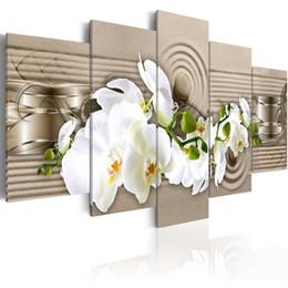 Orquídeas pinturas lienzo online-5 unidades arte de la pared impresión hd lienzo pintura al óleo orquídea cuadros de flores para el dormitorio pinturas modernas cuadros abstractos