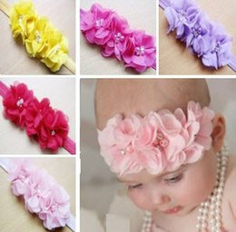 Wholesale Gril Baby - 20pcs Gril baby 3 flowers hair bands pearl Crystal Chiffon flower combination set Elastic Headbands Headwear head band Hair Accessories H061