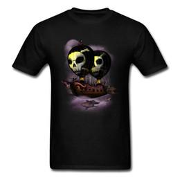 Camisas occidentales de algodón online-Camiseta de Hip Hop Globos de aire caliente Pirates Ship Men Camiseta Summer Home Casual Clothing Western Camisetas Round Collar Cotton