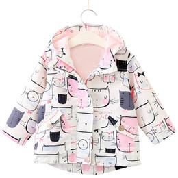 2019 chaqueta de patrón de gato Ropa para niños Chaqueta 2018 Primavera Otoño Ropa para niñas Patrón de gato Con capucha Ropa para niños 3-7Y Abrigos para bebés Ropa de abrigo rebajas chaqueta de patrón de gato