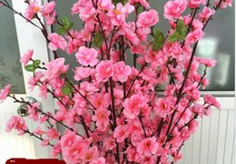 Arrangiamenti da tavolino artificiali online-Artificial Spring Blossom Cherry Bouquet Spray Branch Peach Flower Perfetto per bouquet da sposa posy tavolo o elegante casa Deco
