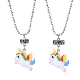 Wholesale Colorful Resin Necklace - 20 set lot 2pcs sets BFF Child necklace Cartoon resin colorful unicorn horse best friend pendant necklace