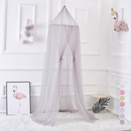 Wholesale Princess Curtains - Nordic Style Kids Decoration Dome Mosquito Net Princess Baby Shed Curtains Round Bed Hanging Canopy Awning Tent Grey S3