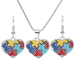 Wholesale diamond ear clip earrings - Autism Awareness Puzzle Jigsaw Jewelry Set Colorful Fashion Square Diamond Charm Necklace Earring Set Bracelet Jewelry CCA9197 100pcs