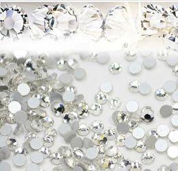 Wholesale clear glitter nails - Nail Art Glitter Rhinestones White Crystal Clear Flatback DIY Tips Sticker Beads Nail Jewelry Accessory 1440pcs lot Free Shiping