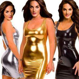 Mojar vestidos online-2018 Nuevo Vestido atractivo ajustado Vestido húmedo delgado Fetish Bondage Vinilo PVC Vestido de cuero Bodycon Plus Tamaño 5XL