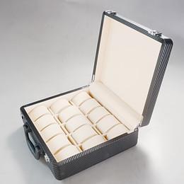 2019 hacer caja de madera Caja de reloj de lujo hecha a mano Madera Cerradura con doble hebilla Cuero de PU PU 15 Ranuras de caja de reloj Maleta portátil Pantalla 3X5 línea Reloj Csse hacer caja de madera baratos
