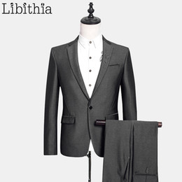 Wholesale Male Straight Jacket - (Jacket + Pant) Mens Wool Suit Costume Homme Men's Suits With Pants Slim Fit Wedding Suits For Men Clothing Male Silver E542