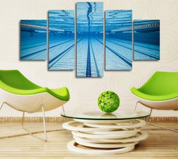Wholesale underwater paint - Home Decoration HD Print 5 Panel Wall Art Swimming Pool Underwater Landscape Canvas Oil Painting Frame Poster Modular Pictures