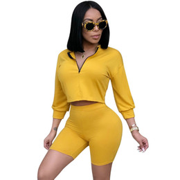 yoga shorts outfit Coupons - Sexy 2 Piece Set Women Clothes Crop Tops Comfortable Shorts Suits Summer Autumn Outfits Two Piece Matching Sets Casual Tracksuit Hot Sale