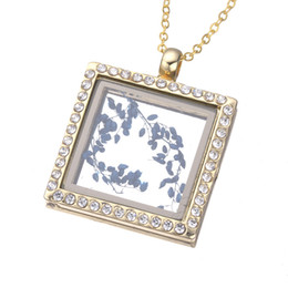 Wholesale Green Float Glass - 35*29mm Silver Gold Square Memory Jewelry Magnetic Glass Living Floating Locket Pendant Necklace Choker for Women