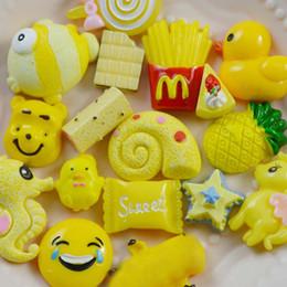 Wholesale flatback resin cabochon - 30pcs Yellow Mixed Cartoon DIY Resin Flatback Cabochon Lucky Bag Kawaii DIY Phone Case For Kids Phone Decoration
