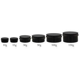 Wholesale wholesale metal tin containers - 100pc 10g 15g 30g 50g 100g 150g Black Empty aluminum jar 50gram metal cream jar 150g aluminum tin cosmetic container Matte Black