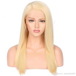 Candeggiare parrucche bionde per le donne online-Capelli umani vergini Dritti biondi 613 colori parrucche piene del merletto linea sottile naturale nodi candeggiati i capelli del bambino intorno per le donne
