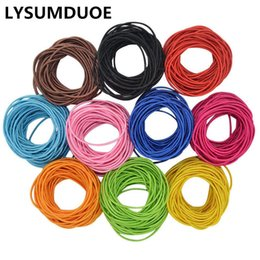 Wholesale Hair Ponytail Holders Jewelry - 100Pcs Girl Elastic Bands Ponytail Holder Rubber Hair Elastic Kid Accessories Candy Ribbon Ring Rope Children Jewelry Accessory