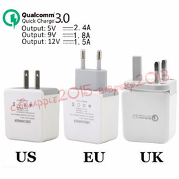 Wholesale 9v ac adapter charger - Fast Adaptive Charge QC 3.0 5V 2.4A 9V 1.8A 12V 1.5A Eu US Uk Ac home wall charger power adapter for ipad iphone samsung s7 s8 android phone