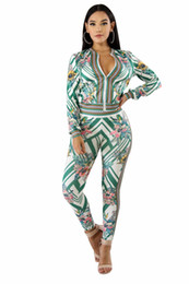 11218ba94702 Elegant Printed Rompers Womens Jumpsuit Long Sleeve Front Zipper leisure Skinny  Jumpsuit Autumn Female Two Piece Overalls S-XL