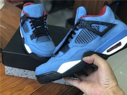 HOTTEST TRAVIS SCOTTS 4 HOUSTON OILER BLUE BLACK BASKETBALL SHOES FOR MEN  OUTDOORS SNEAKERS BEST QUALITY 308497-406 RUNNING SHOES US 7-13 a8fcc4aac